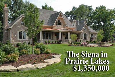 The Siena from Silvestri Custom Homes is now available at $1,350,000 in the Prarie Lakes development in St. Charles